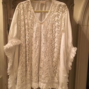 Elan OS white embroidered pancho type top